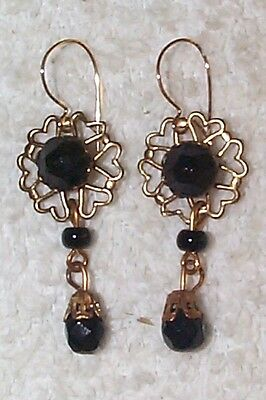 Vintage Faceted Fr Jet Black Glass Lavaliere Drop Earrings Goth/mourning Costume
