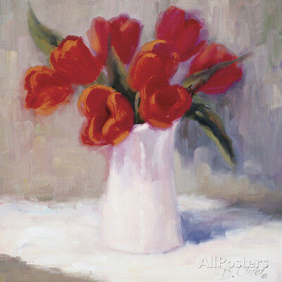 Red Tulips Art Poster Print by B. Oliver, 12x12