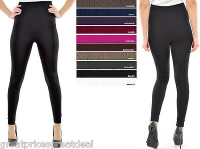 1 or 3 WOMENS CABLE KNIT FOOTLESS FLEECE Legging Tight TX200 Sofra Fits S M L XL