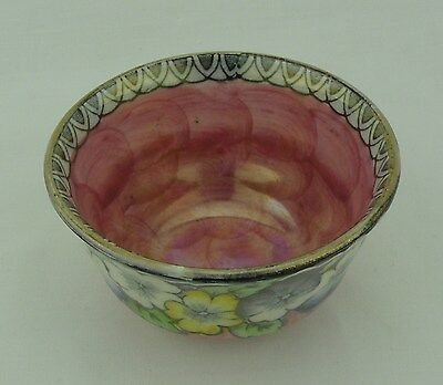*VINTAGE* Maling Ware Thumbprint Lustre Bowl with Flowers and Gold Trim #6651