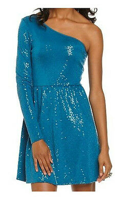 KENSIE Size M Teal One Sleeve Sequin Dress *NWT $98