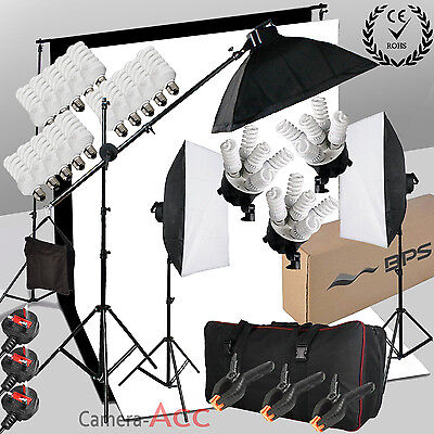 Photo Studio 2850W Continuous Lighting Softbox Boom arm Kit 2 background & Stand