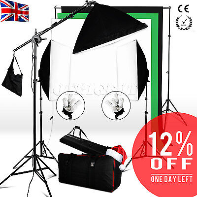 2850W Lighting Softbox Kit Boom arm Photo Black White Green Background Stand Set