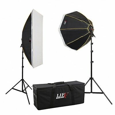 Daylight Studioset LS-1290, 8x150 W - Striplight, Octobox, Tasche