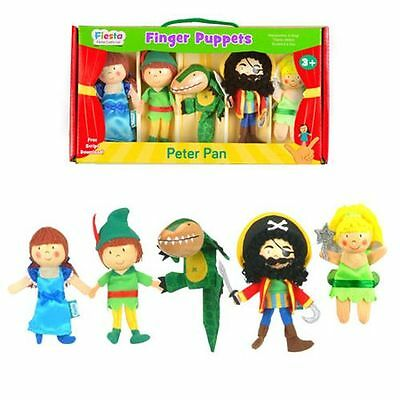 NEW PETER PAN - Finger Puppets set - 5 Puppets - Fiesta Crafts - boxed set