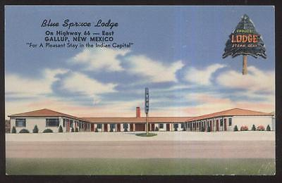 Postcard GALLUP New Mexico/NM ROUTE RT 66  Blue Spruce Motel Motor Court 1940's