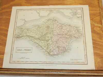 1832 Antique COLOR Map//ISLE OF WIGHT, IN ENGLISH CHANNEL//ENGLAND