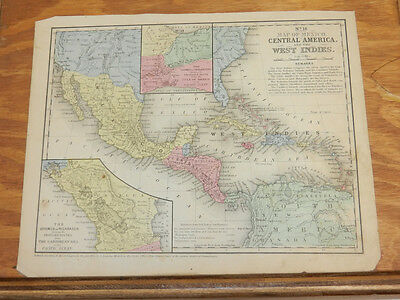 1852 Mitchell Antique COLOR Map//MEXICO, CENTRAL AMERICA, WEST INDIES