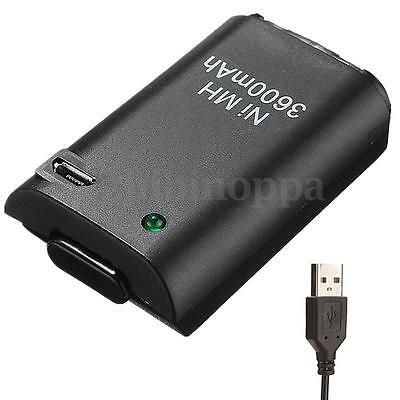 3600mAh Rechargeable Battery Pack USB Charger Cable For Xbox360 Controller New