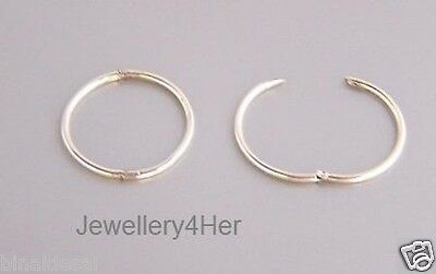 925 Sterling Silver 13mm Tiny Small Hinged Hoop Sleeper Earrings B'day GIFT NEW