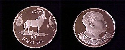 1978 Zambia Large Proof Silver  10 Kwacha- Sable Antelope.