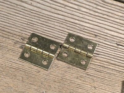 "2 old door Butt hinges all solid brass 1 x 1"" jewelry box vintage small little"