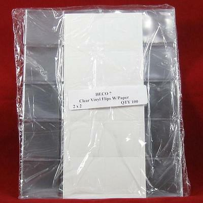 "(500) 2"" x 2"" Safe-T Double Pocket Vinyl Coin Flips with Paper Inserts"