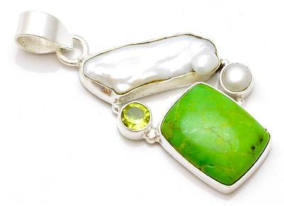 Green Copper Turquoise ,Pearl, Peridot Pendant Solid 925 Silver Jewelry IP21488