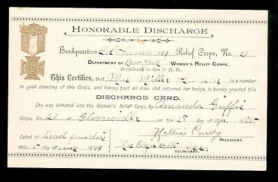 Honorable Discharge Card fro Woman's Relief Corps 1885-1899, Gloverville NY