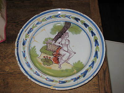 CONTINENTAL ANTIQUE DELFT FAIENCE CHARGER REPAIRED POLYCHROME LADY LANDSCAPE