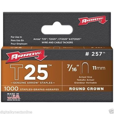 "ARROW T25 Round Crown Staples, 7/16""; 1000/pk"
