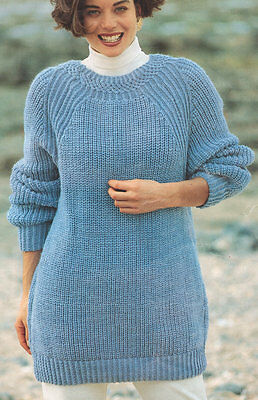 "Aran Wool Fancy Round Neck Sweater/Tunic 32""- 42"" ~ Knitting Pattern"