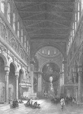 SICILY Italy, MESSINA CATHEDRAL CHURCH KING CONRAD ~ 1840 Art Print Engraving