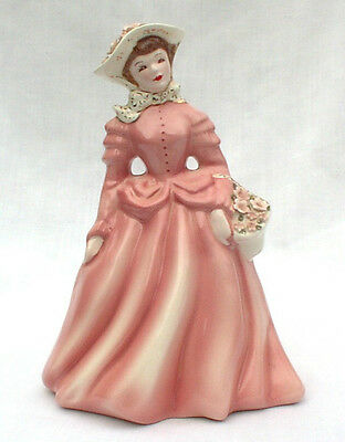 Florence Ceramics ANN Lady In Pink w/Flower Basket Figurine