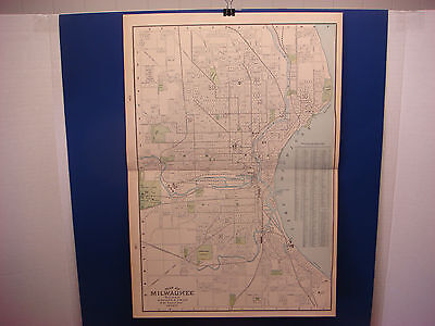 """1903 Cram's Atlas Map 2 Page,Milwaukee ,Nice Color,Suitable To Frame 14""""X21"""""""