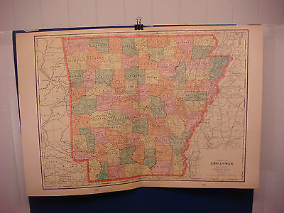 """1903 Cram's Atlas Map 2 Page, Arkansas, Nice Color,Suitable To Frame 14""""X21"""""""
