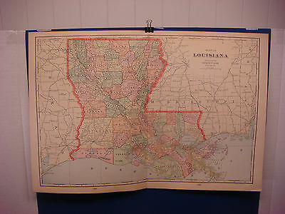 """1903 Cram's Atlas Map 2 Page, Louisiana, Nice Color,Suitable To Frame 14""""X21"""""""