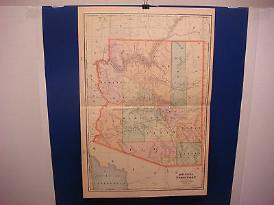"""1903 Cram's Atlas Map 2 Page,Arizona Territory, Color,Suitable To Frame 14""""X21"""""""