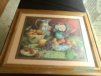"""""""TIMELESS"""" PRINT BY CAROLYN SHORES WRIGHT 1996 WOOD FRAME HOMCO FLOWERS FRUIT"""