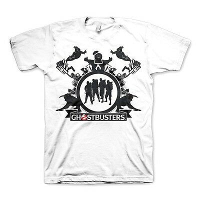 OFFICIAL MENS RETRO Ghostbusters Team White T-Shirt Tee
