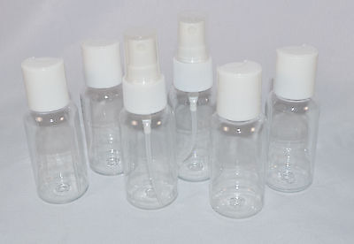 Lot of 6 Clear Plastic Travel Bottles Carry On Containers TSA