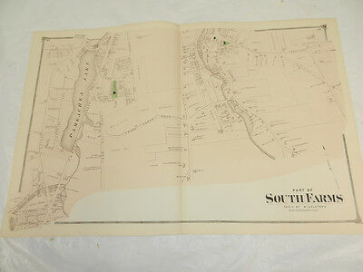 1874 Antique COLOR Map Middlesex County/SOUTH PART OF SOUTH FARMS, MIDDLETOWN,CT