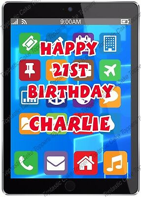 Personalised Black Tablet Device Design Edible Icing Birthday Party Cake Topper