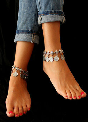 Boho Silver Coin Tassel Gypsy Festival Turkish Tribal Ethnic Anklets Jewelry 1PC