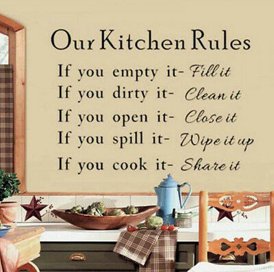 hot! kitchen Rules Quote DIY Sticker Art Vinyl Decal Home Decor Stickers Words