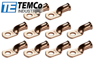 """10 Lot 2 AWG 5/16"""" Hole Ring Terminal Lug Bare Copper Uninsulated Gauge"""