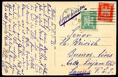 GERMANY TO ARGENTINA Circulated Postcard 1926, VF