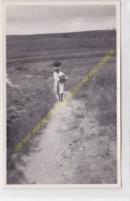 RPPC carte photo MADAGASCAR femme porteuse cruche sur la tete  n26