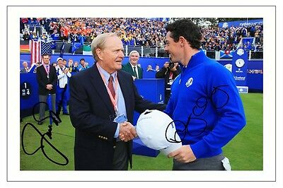 Jack Nicklaus + Rory Mcilroy Europe 2014 Ryder Cup Signed Photo Print Golf