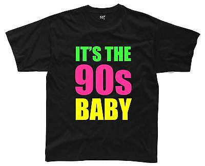 IT'S THE 90s BABY Mens T-Shirt S-3XL Black Outfit Fancy Dress Costume Neon