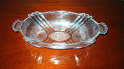 Vintage Clear Depression Glass Oval ORNATE Candy / Pickle Dish w/handles