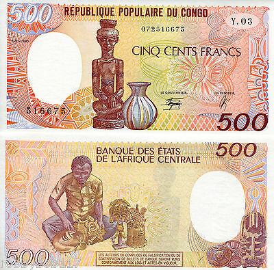 CONGO PEOPLES REPUBLIC 500 Francs Banknote World Currency Money BILL p8c Note