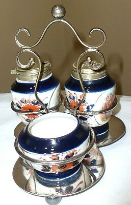 GAUDY WELSH / FLOW BLUE  / CONDITMENT SET IN EPNS SILVER HOLDER