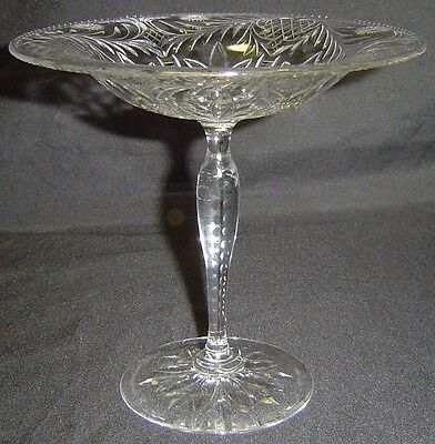 "Gorgeous Antique Rock Crystal Cut Glass 6"" Tazza Jelly Compote Brilliant Period"
