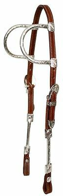 Showman Western 2 Ear Show Bridle Headstall W/ 7' Split Reins & Silver - Medium
