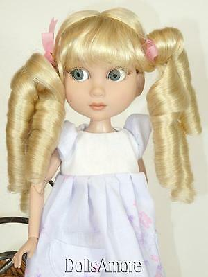 LONG CURLY PONYTAILS/BRAIDS BLONDE DOLL WIG SIZE 8-9 FITS PATIENCE, KAYE WIGGS,