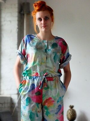 TAUBERT Overall jumpsuit aquarell Floral 90er True VINTAGE 90s Blumenmuster