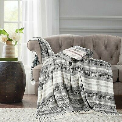 Large 100% Cotton Woven Bed Throwover 1 2 3 4 + Giant Size Sofa Seater Protector