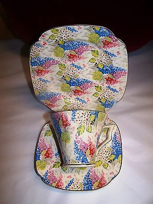 VINTAGE DECO FLORAL CUP SAUCER AND PLATE - TRIO MELODY CHINTZ