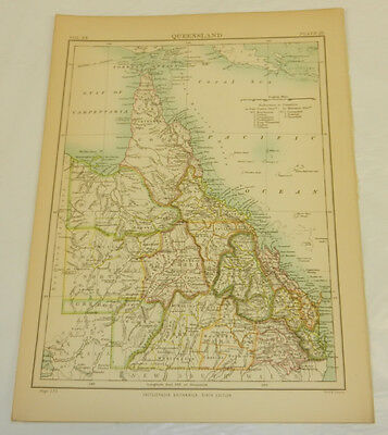 1886 Antique COLOR Map/QUEENSLAND, AUSTRALIA